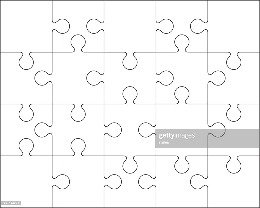 20 Leere Vorlage Jigsaw Puzzle Oder Schneiden Leitlinien ...