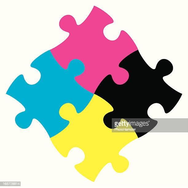 jigsaw puzzle cmyk - jigsaw piece stock illustrations, clip art, cartoons, & icons
