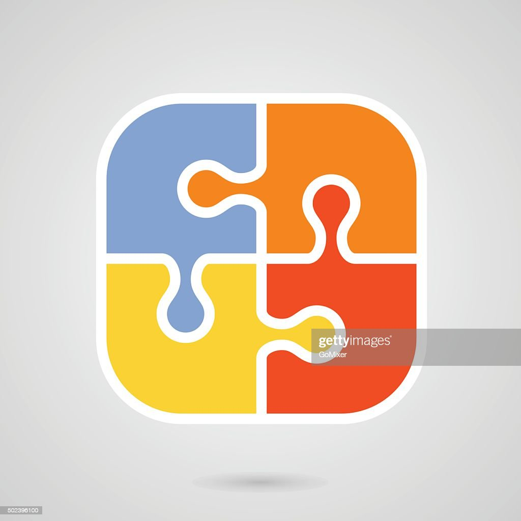 Jigsaw puzzle icon - teamwork symbol