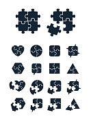 Jigsaw puzzle icons collection