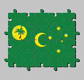 Jigsaw puzzle of Cocos (Keeling) Islands flag in a palm tree on a gold disc, crescent and southern cross on green.