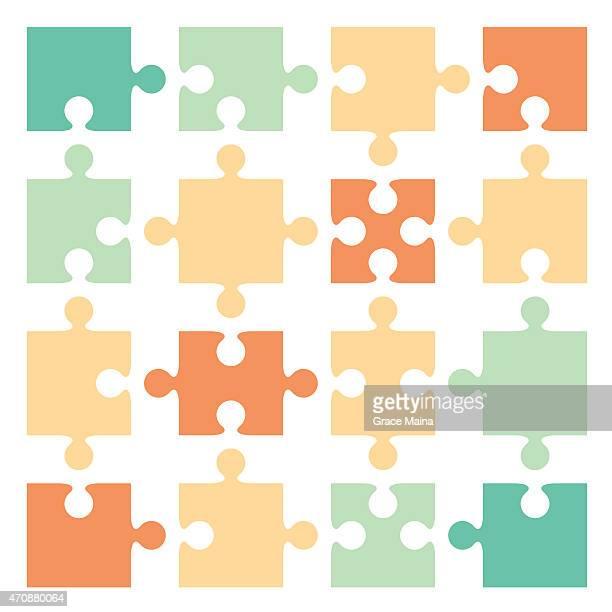 jigsaw puzzle pieces - vector - jigsaw piece stock illustrations, clip art, cartoons, & icons