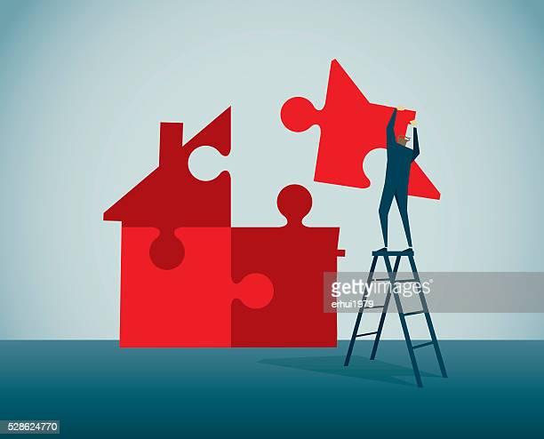 jigsaw puzzle - housing development stock illustrations