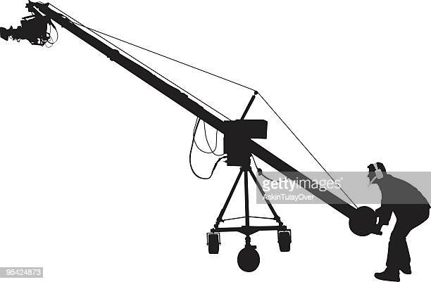 jimmy jib operator - steel cable stock illustrations