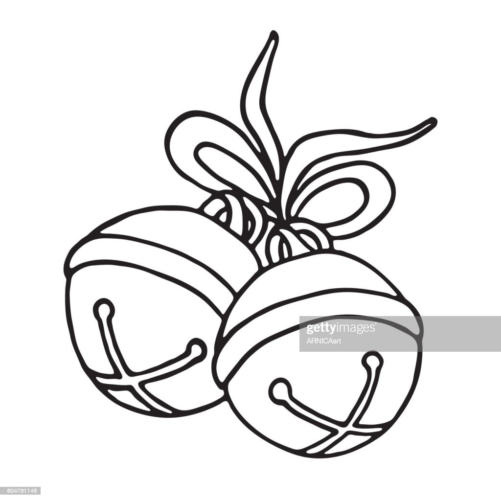 Jingle bells with bow on a white background
