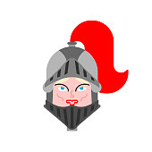 Joan of Arc face Portrait. Woman knight history. National heroine of France Vector illustration