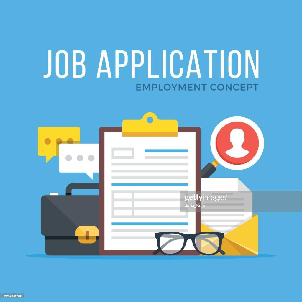 Job application. Employment, human resources, curriculum vitae, hr, job offer, cv, recruitment, hiring concepts. Modern flat design graphic set for web banners, websites, etc. Vector illustration