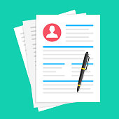 Job application, resume, cv. Document with man photo and pen. Employment, human resources, recruitment concepts. Flat design. Vector illustration