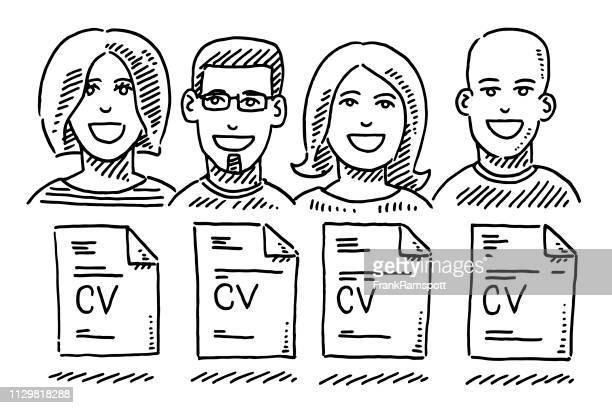 Job-Kandidaten Portraits CV Dokument Zeichnung