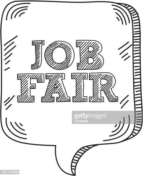 job fair text with speech bubble drawing - job fair stock illustrations