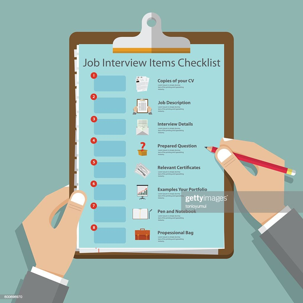 Job interview icons in flat design on clipboard. Vector Illustration