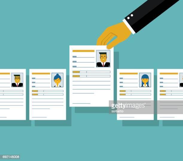 job interview - resume stock illustrations