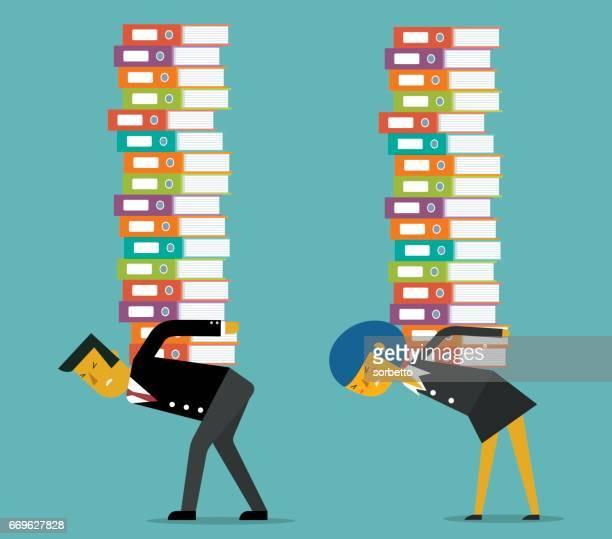 job overload - bending over stock illustrations, clip art, cartoons, & icons