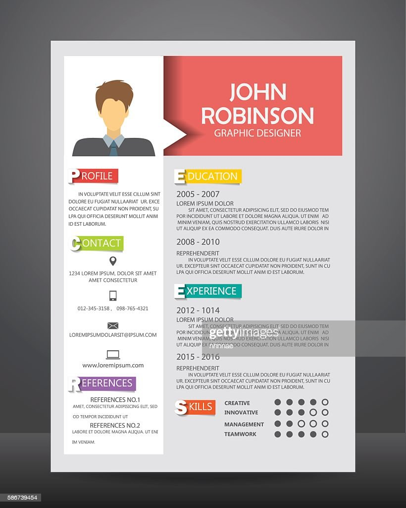 Job Resume Template Vector Clipart Vectoriel Getty Images