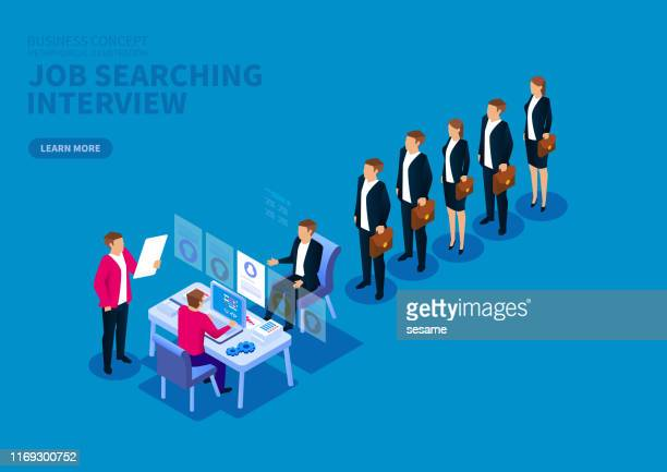 job search and interview, standing in a row of job seekers - patience stock illustrations