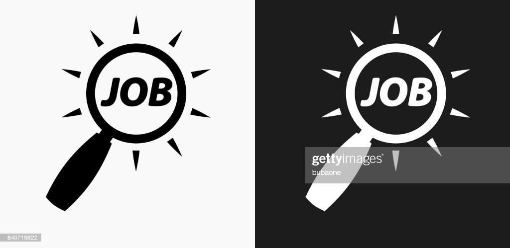 Job Search Icon On Black And White Vector Backgrounds