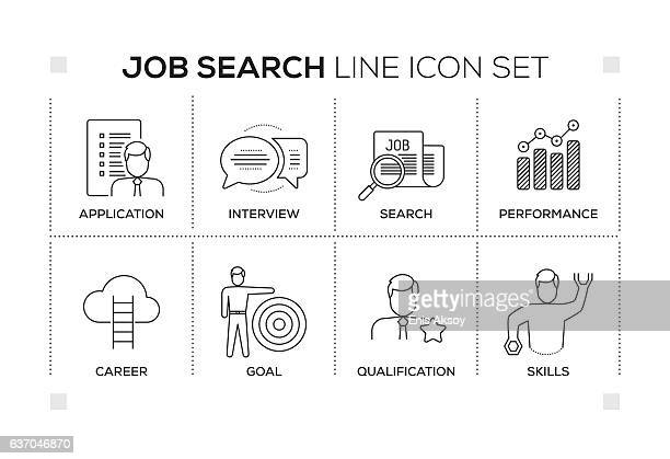 job search keywords with monochrome line icons - interview stock illustrations, clip art, cartoons, & icons