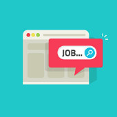 Job search online on website vector illustration, flat web page with job notification icon