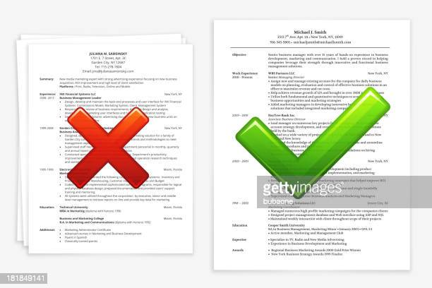 job search with good and bad resume - rudeness stock illustrations