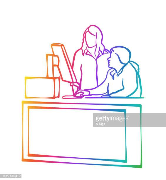 job training computer rainbow - retail employee stock illustrations