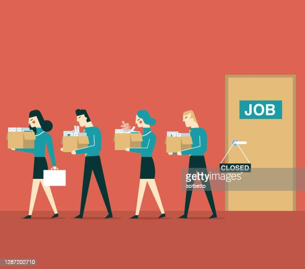 jobless - quitting a job stock illustrations
