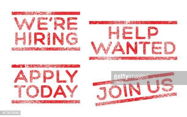 Jobs employment hiring rubber stamps