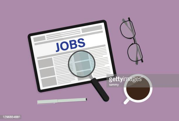 jobs website, pen, magnifying glass, coffee cup, and eyeglasses - new hire stock illustrations