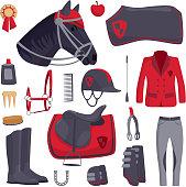 Jockey horse icons vector.
