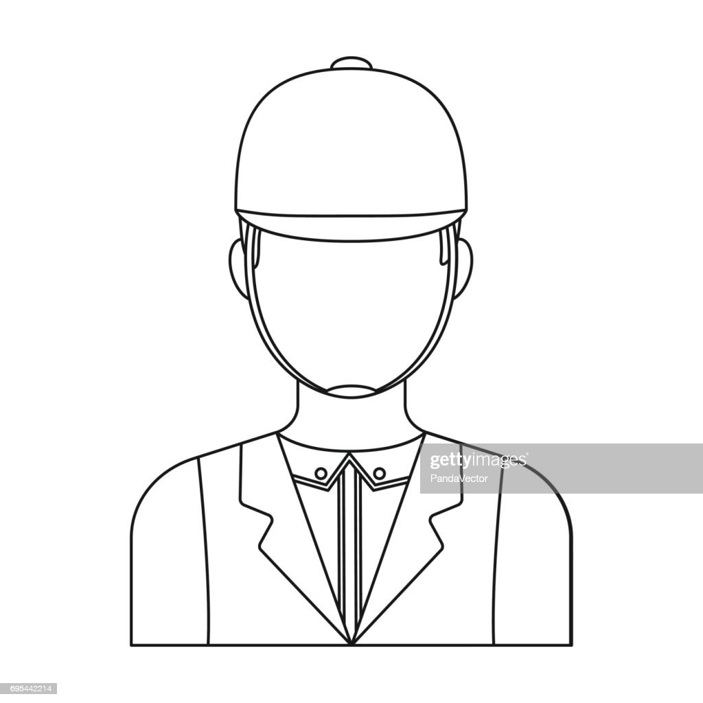 Jockey icon in outline style isolated on white background. Hippodrome and horse symbol stock vector illustration.