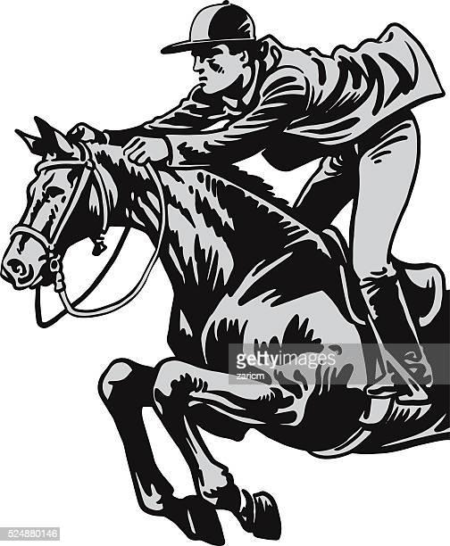 jockey on a horse - mare stock illustrations, clip art, cartoons, & icons