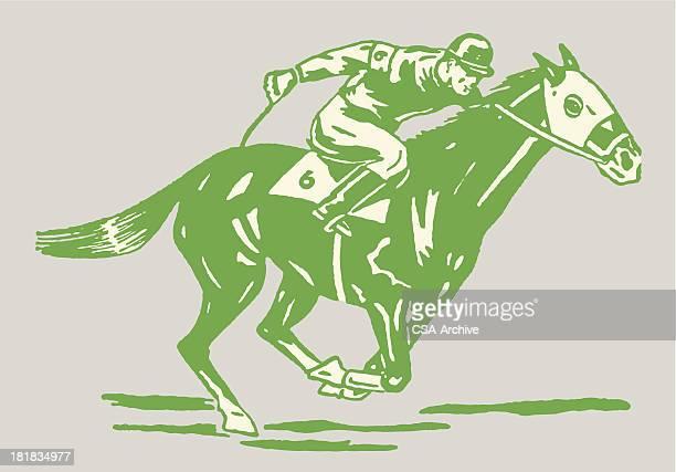 jockey on horse in race - horse racing stock illustrations