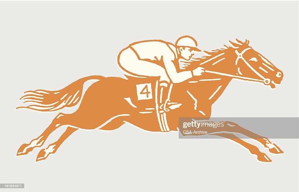 Jockey on Racehorse in Action : Stock Illustration