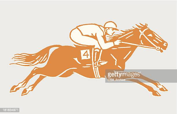 jockey on racehorse in action - horse racing stock illustrations