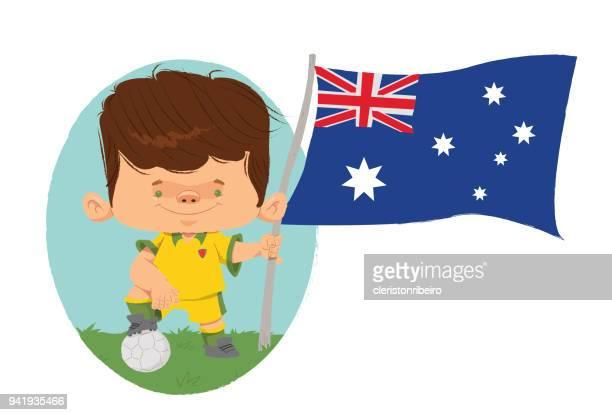 jogador de futebol (austrália) - austrália stock illustrations