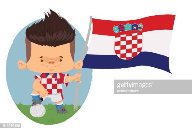 jogador de futebol (croácia) - croatian flag stock illustrations, clip art, cartoons, & icons