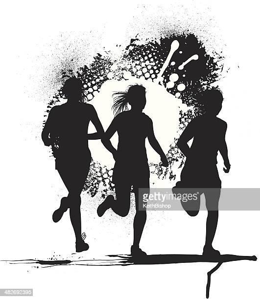 joggers or cross country runners - girls - track and field stock illustrations, clip art, cartoons, & icons