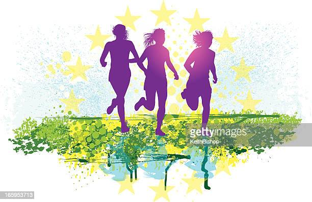 joggers or cross country runners - woman's fitness - women's track stock illustrations, clip art, cartoons, & icons