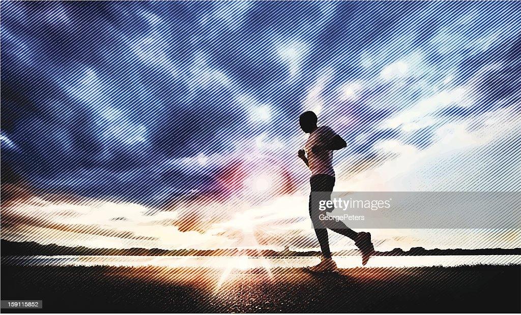 Jogging at Sunset : Vector Art