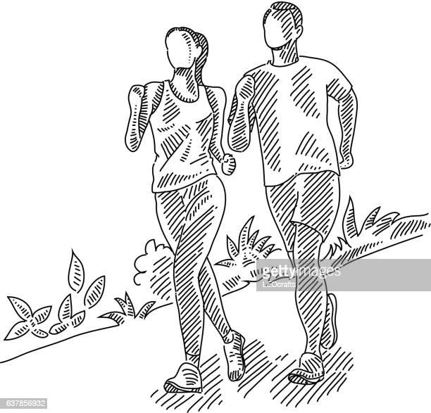 Jogging Couple Drawing