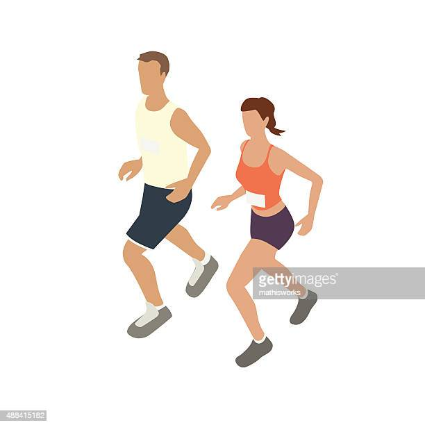 Jogging couple illustration