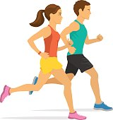 jogging couple. man and woman running