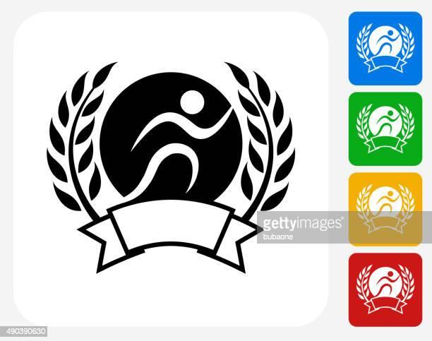 stockillustraties, clipart, cartoons en iconen met jogging emblem icon flat graphic design - military