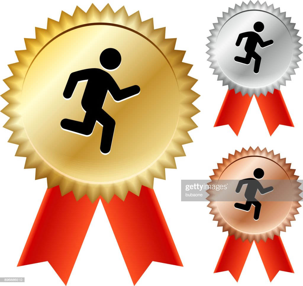 Jogging  Gold Medal Prize Ribbons : stock illustration