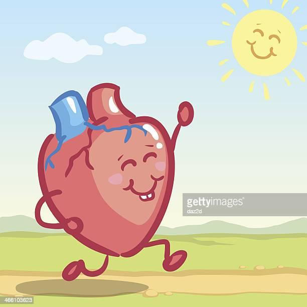 jogging heart - myocardium stock illustrations, clip art, cartoons, & icons