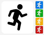 Jogging Icon Flat Graphic Design