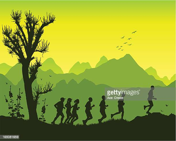 jogging in the mountains - high up stock illustrations, clip art, cartoons, & icons