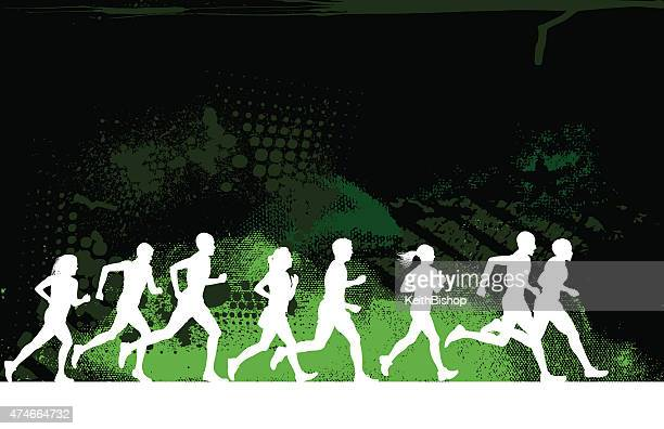 jogging or runners club grunge background - track and field stock illustrations, clip art, cartoons, & icons
