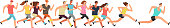 Jogging people. Runners group in motion. Running men and women sports background