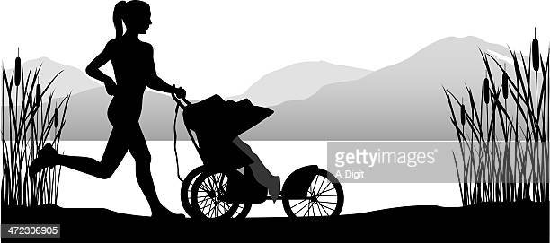 jogging stroller - three wheeled pushchair stock illustrations, clip art, cartoons, & icons