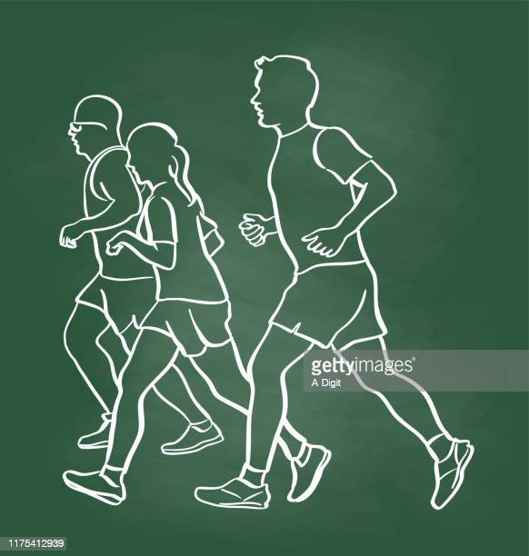 jogging with friends chalkboard - cardiovascular exercise stock illustrations, clip art, cartoons, & icons
